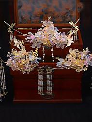 cheap -1 Piece Chinese Jade Crystal Costume Headdress Retro Tassel Wedding Classical Bride Palace Hair Accessories