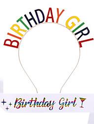 cheap -1 Piece Fashion Color BIRTHDAY GIRL Headband Belt Etiquette Belt Birthday Queen Hair Accessories
