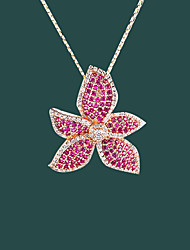 cheap -Pendant Necklace Women's Floral Clear Pink Flower Dainty Luminous Wedding Gold 21-50 cm Necklace Jewelry 1pc for Wedding Geometric