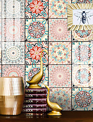cheap -12pcs 15*15CM Crystal Tile Self-adhesive Paper Bohemian Kitchen Oil-proof And Waterproof Removable Wall Stickers