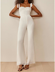 cheap -Jumpsuits Wedding Dresses Square Neck Spaghetti Strap Ankle Length Chiffon Sleeveless Simple Beach with Bow(s) 2021