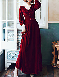 cheap -A-Line Minimalist Elegant Prom Formal Evening Dress V Neck Long Sleeve Floor Length Velvet with Pleats Beading 2021