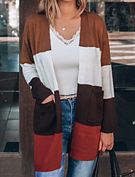 cheap -Women's Cardigan Knitted Color Block Stylish Long Sleeve Sweater Cardigans Open Front Fall Coffee