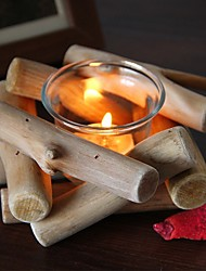cheap -pastoral retro original wooden driftwood candle holder glass creative decoration romantic european-style simple home