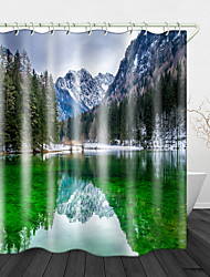 cheap -Beautiful Scenery Printed Waterproof Fabric Shower Curtain Bathroom Home Decoration Covered Bathtub Curtain Lining Including Hooks.