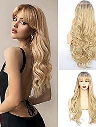 cheap -blonde wig with bangs, long ombre wavy wig for women blonde air bangs wig dark root natural realistic heat resistant synthetic wig for everyday/party/cosplay