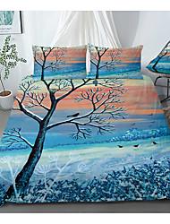 cheap -Print Home Bedding Duvet Cover Sets Soft Microfiber For Kids Teens Adults Bedroom Landscape 1 Duvet Cover 1/2 Pillowcase Shams 1 Flat Sheet
