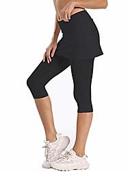 cheap -women's upf 50+ capri skirted leggings adjustable active running tennis sports leggings tights pants with skirt & pockets (black, m)