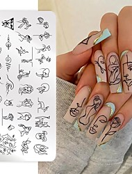 cheap -1 Pcs Nail Stamping Plates Line Pictures Stencil Stainless Steel Nail Design for Printing Nail Art Image Plate