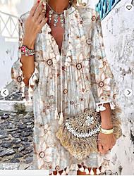 cheap -Women's Sundress Knee Length Dress Blushing Pink Khaki White 3/4 Length Sleeve Floral Print Fall Summer V Neck Boho Flare Cuff Sleeve 2021 S M L XL XXL 3XL