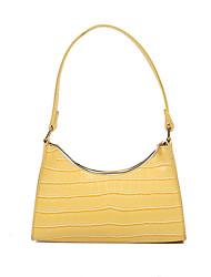 cheap -Women's Bags PU Leather Crossbody Bag Zipper Crocodile Daily Date Handbags Baguette Bag Yellow Blushing Pink Green White