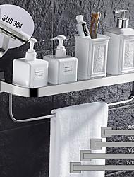 cheap -Modern Bath Multifunctional Storage Rack With Towel Bar Stainless Steel Thickened Towel Rack Bathroom Tempered Glass Cosmetics Bathroom Supplies Storage Rack