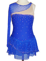 cheap -Figure Skating Dress Women's Girls' Ice Skating Dress Blue Patchwork Spandex High Elasticity Competition Skating Wear Crystal / Rhinestone Long Sleeve Ice Skating Figure Skating / Kids