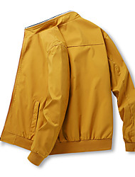 cheap -Men's Jacket Street Daily Going out Fall Spring Regular Coat Zipper Stand Collar Regular Fit Thermal Warm Breathable Sporty Casual Jacket Long Sleeve Plain Pocket Blue Yellow Gray / Outdoor