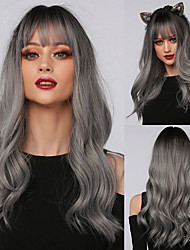 cheap -Halloween Cosplay Wig Long Natural Wave Root Black Ombre Gray Silver Synthetic Wigs with Bangs for Woman Party Wigs
