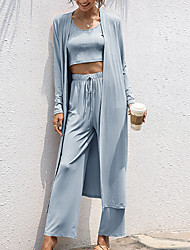 cheap -Women's Breathable Loungewear Sets Home Street Airport Elastic Waist Pure Color Cotton Fashion Soft Crop Top Pant Fall Winter Crew Neck Long Sleeve Long Pant Not Specified / T shirt / 3 Pieces