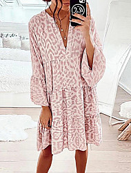 cheap -Women's Swing Dress Knee Length Dress Flower type one Flower type three Flower type two Blushing Pink Long Sleeve Leopard Print Fall V Neck Casual Regular Fit 2021 S M L XL XXL