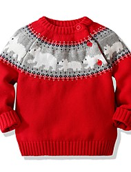 cheap -Kids Unisex Boys' Girls' Sweater Long Sleeve Animal Red Navy Blue Children Tops Fall Winter Active Daily Indoor Outdoor Christmas Regular Fit 1-5 Years