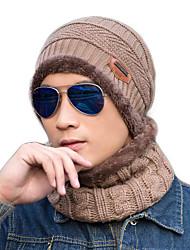 cheap -Women's Men's Hiking Cap Beanie Hat 1 set Winter Outdoor Windproof Warm Soft Thick Neck Gaiter Neck Tube Skull Cap Beanie Solid Color Woolen Cloth Black Burgundy Blue for Fishing Climbing Running