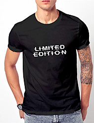 cheap -Men's Unisex T shirt Hot Stamping Graphic Prints Letter Limited edition Print Short Sleeve Casual Regular Fit Tops Basic Designer Big and Tall Black