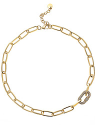 cheap -Chain Necklace Women's Geometrical Mini Simple Basic Classic Cute Lovely Gold 41 cm Necklace Jewelry 1pc for Street Work Club Geometric