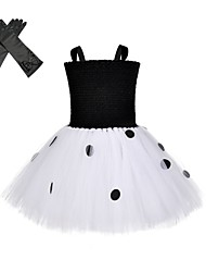 cheap -One Hundred and One Dalmatians Cruella De Vil Outfits Masquerade Girls' Movie Cosplay Vacation Halloween Black Dress Gloves Halloween Carnival Masquerade Polyester