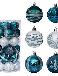 cheap -Christmas Decoration 6cm/30pcs Green And White Painted Christmas Ball Set Christmas Tree Pendant