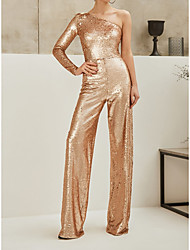 cheap -Jumpsuits Glittering Sparkle Wedding Guest Formal Evening Dress One Shoulder Long Sleeve Floor Length Sequined with Sequin 2021