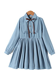 cheap -Kids Little Girls' Dress Solid Colored A Line Dress Birthday Bow Blue Knee-length Long Sleeve Princess Cute Dresses Fall Spring Regular Fit 3-10 Years