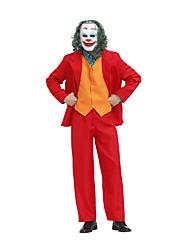cheap -Burlesque Clown Joker Killer Clown Cosplay Costume Outfits Men's Movie Cosplay Suits RedYellow Vest Shirt Top Halloween Masquerade Terylene / Pants / Pants