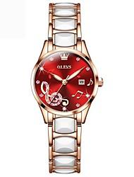 cheap -OLEVS Women Luxury Rhinestone Ceramics Strap Quartz Watches Ladies Business Watch Japanese Quartz Movement Relogio Feminino 3605