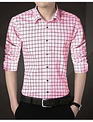 cheap -Men's Shirt Tartan Long Sleeve Casual Tops Chinese Style Casual Blue Blushing Pink White