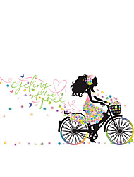 cheap -cyclist girl street lamp flower bedroom entrance home decoration wall sticker self-adhesive