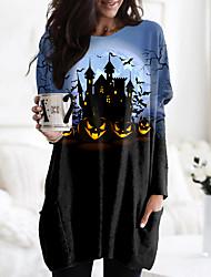 cheap -Women's Halloween Floral Theme Abstract Painting T shirt Graphic Pumpkin Long Sleeve Pocket Print Round Neck Basic Halloween Tops Blue Purple Green / 3D Print