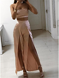 cheap -Two Piece Jumpsuits Minimalist Sexy Party Wear Wedding Guest Dress Strapless Sleeveless Ankle Length Charmeuse with Sleek Split 2021