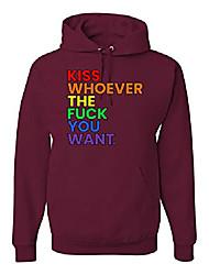 cheap -rainbow flag kiss whoever you want pride lgbt pride unisex graphic hoodie sweatshirt, maroon