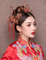 cheap -1 Piece Costume Headdress Step Tassel Suit Chinese Dress Cheongsam Show Wo Clothing Costume Phoenix Crown Hair Accessories
