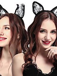 cheap -2 Pcs/set Lace Cat Ear Headband Sexy Cat Headband Sexy Halloween Accessories