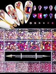 cheap -21 Grid Pink Rhinestone Decorations for DIY Nails Art 2021 Fashion Glass Nail Sticker for Manicure Design