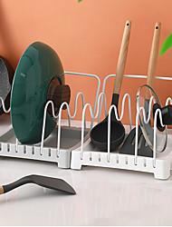 cheap -Adjustable Pan and Lid Rack, Standard, White kitchen pot storage racks with adjustable spacing