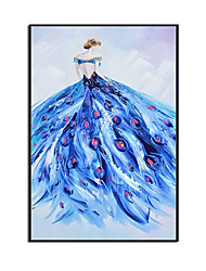 cheap -Oil Painting Handmade Hand Painted Wall Art Modern Abstract Beautiful Lady In A Blue Dress Home Decoration Decor Rolled Canvas No Frame Unstretched