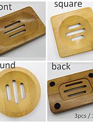 cheap -3PCS Natural Eco-Friendly Wood Soap Box Household Storage Bamboo Portable Bathroom Dish Products