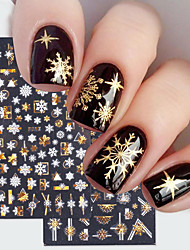 cheap -8 Pcs 3D Christmas Nail Art Decoration Stickers Sparkly Gold White Colorful Glitter Geometry Snowflake Winter Slider Nail Foils