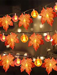 cheap -Halloween Lighst 2pcs 1pcs 3m 20 Lights Autumn Atmosphere Halloween Thanksgiving Christmas Decoration Maple Leaf Pumpkin Ornament Halloween Lights