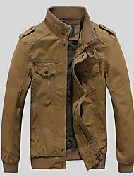 cheap -Men's Jacket Street Daily Going out Fall Spring Regular Coat Zipper Stand Collar Regular Fit Warm Breathable Sporty Casual Jacket Long Sleeve Plain Full Zip Pocket Khaki Black Army Green / Outdoor