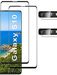 cheap -[2+2 pack]compatible for samsung galaxy s10 screen protector, hd clear tempered glass, ultrasonic fingerprint support, 3d curved, scratch resistant, bubble-free for galaxy s10 glass screen protector