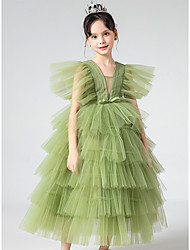 cheap -Princess Ankle Length Flower Girl Dresses Party Tulle Short Sleeve V Neck with Bow(s)
