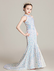 cheap -A-Line Sweep / Brush Train Flower Girl Dresses Formal Evening Sequined Sleeveless Halter Neck with Paillette