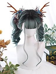 cheap -Wig Female Long Curly Hair Long Straight Hair Gradient Air Bangs Lolita Animation Synthetic High Temperature Wig