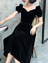 cheap -A-Line Minimalist Elegant Homecoming Cocktail Party Dress Sweetheart Neckline Short Sleeve Knee Length Velvet with Sash / Ribbon 2021